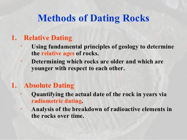 example of relative dating method Relative and absolute age law of superposition relative and absolute dating there are two major ways to date geologic events: relative dating-how old a rock is compared to surrounding rocks absolute dating-actual number of years since the rock was formed relative dating the various relative dating methods tell you whether a specific rock or.