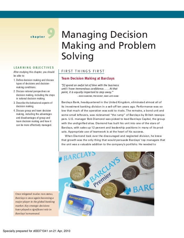 chapter        9          Managing Decision                                                 Making and Problem            ...