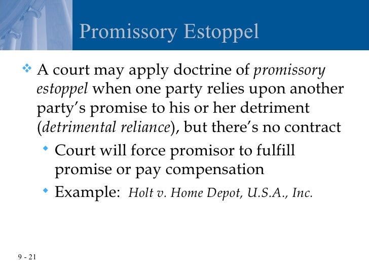 an analysis of the theory of promissory estoppel The standard bargain theory of contract as expressed in consideration says that   under promissory estoppel, we will be looking at the way in which the  promisee  view of the rights and wrongs of things influencing his legal analysis.