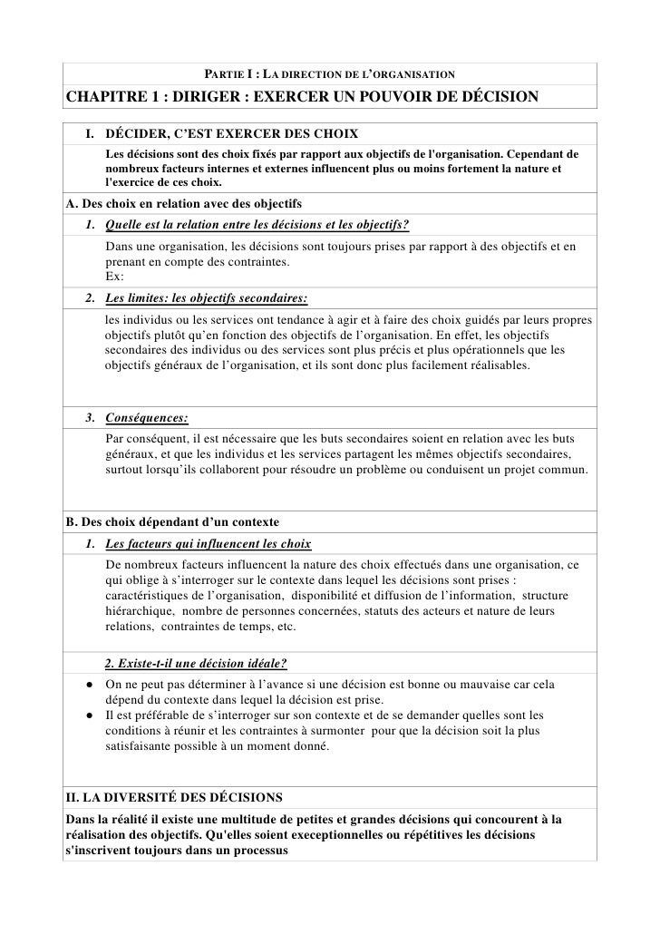PARTIE I : LA DIRECTION DE L'ORGANISATION CHAPITRE 1 : DIRIGER : EXERCER UN POUVOIR DE DÉCISION     I. DÉCIDER, C'EST EXER...