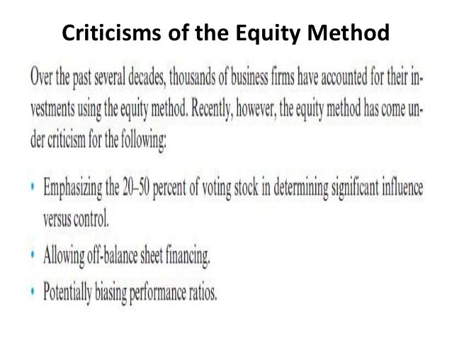 ch 1 the equity method of Chapter 4 consolidated financial statements and outside ownership answers to questions 1 noncontrolling interest refers to an equity interest that is held in a member of a business combination by an unrelated (outside) party.