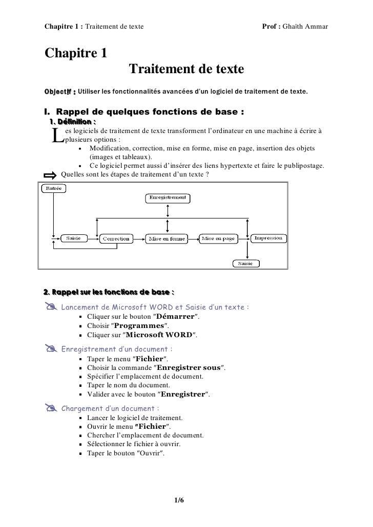 Chapitre 1 : Traitement de texte                                           Prof : Ghaïth AmmarChapitre 1                  ...
