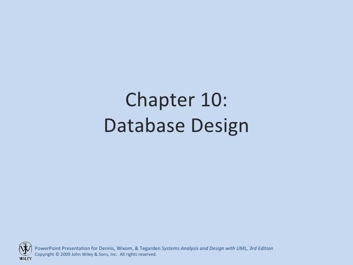 Chapter 10: Database Design
