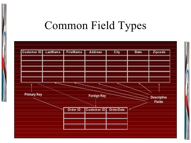 Common Field Types Primary Key Descriptive Fields Foreign Key