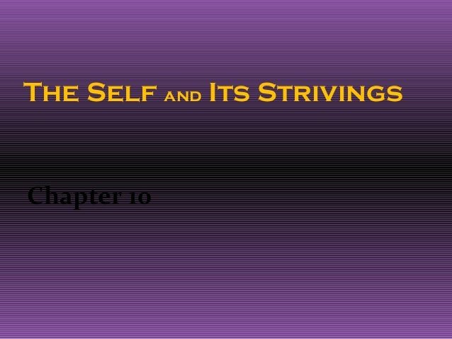 The Self and Its StrivingsChapter 10
