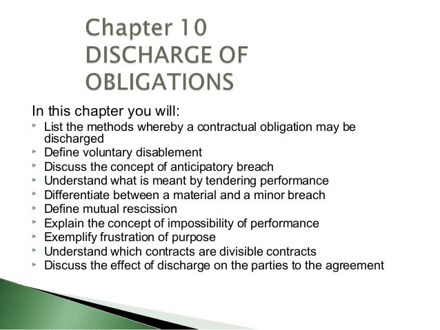 In this chapter you will:   List the methods whereby a contractual obligation may be    discharged   Define voluntary di...