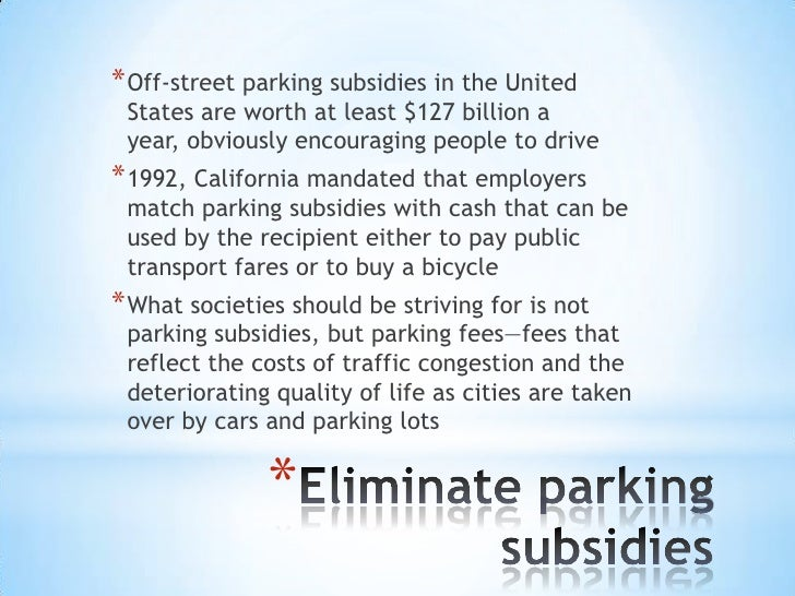 Subsidies and Bicycle Parking