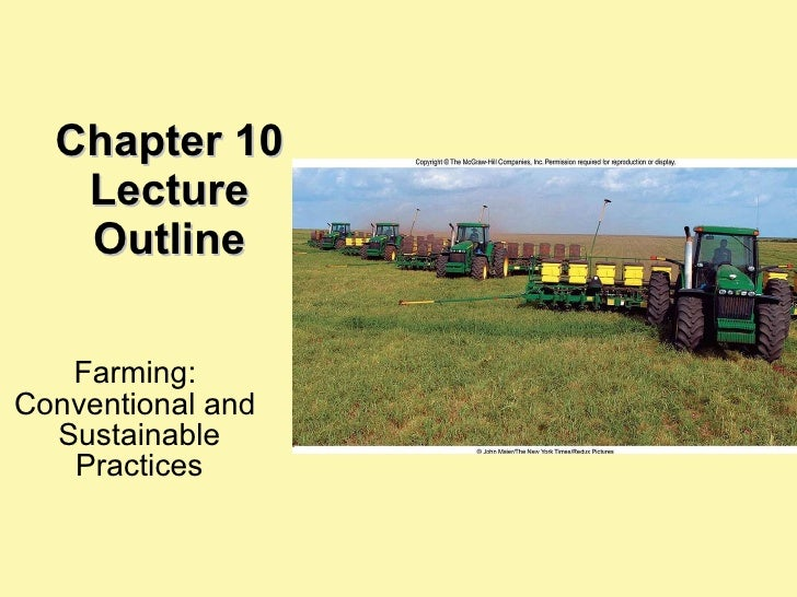 Chapter 10 Lecture Outline Farming:  Conventional and  Sustainable Practices