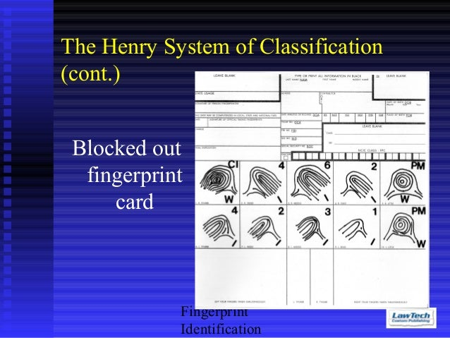 fingerprint classification systems Henry and NCIC