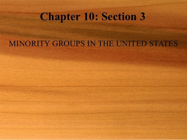 Chapter 10: Section 3 MINORITY GROUPS IN THE UNITED STATES