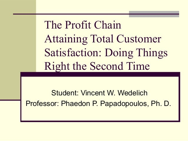 The Profit Chain Attaining Total Customer Satisfaction: Doing Things Right the Second Time Student: Vincent W. Wedelich Pr...