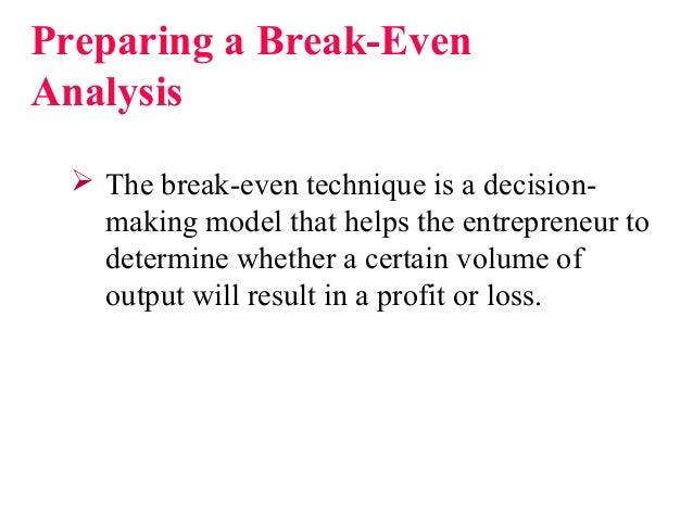 The history of break even analysis