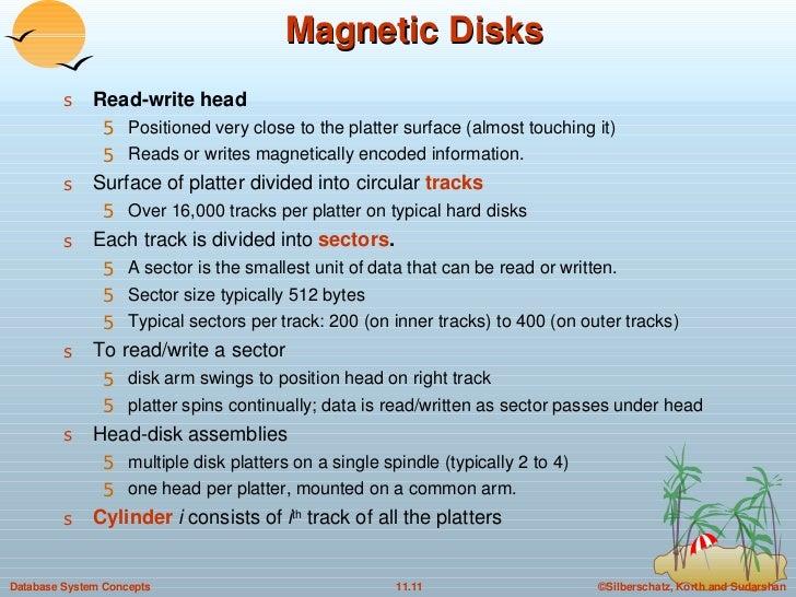 Magnetic Disks <ul><li>Read-write head   </li></ul><ul><ul><li>Positioned very close to the platter surface (almost touchi...