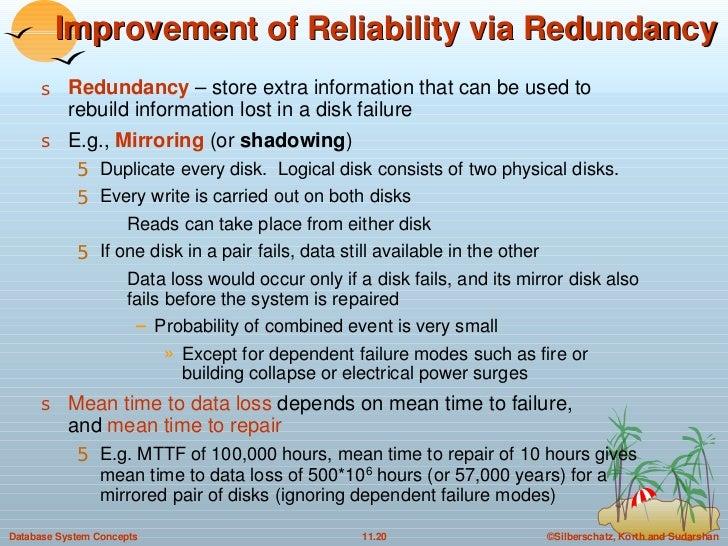 Improvement of Reliability via Redundancy <ul><li>Redundancy  – store extra information that can be used to rebuild inform...
