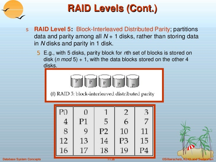 RAID Levels (Cont.) <ul><li>RAID Level 5 :  Block-Interleaved Distributed Parity ; partitions data and parity among all  N...