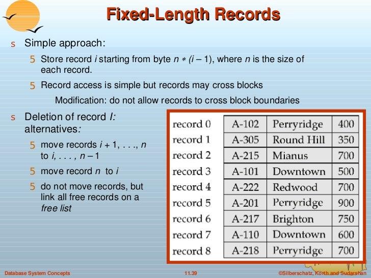 Fixed-Length Records <ul><li>Simple approach: </li></ul><ul><ul><li>Store record  i  starting from byte  n    (i –  1), w...
