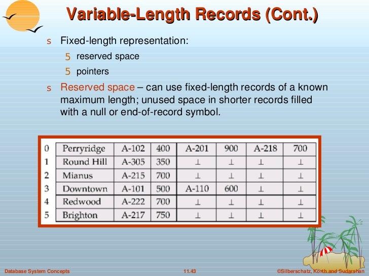 Variable-Length Records (Cont.) <ul><li>Fixed-length representation:  </li></ul><ul><ul><li>reserved space </li></ul></ul>...