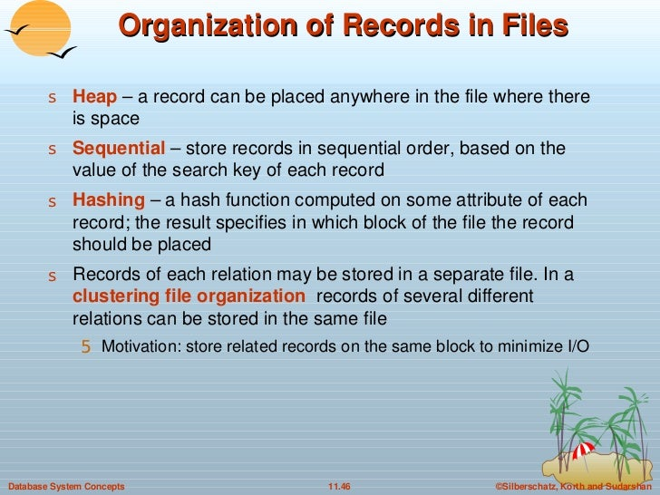 Organization of Records in Files <ul><li>Heap   – a record can be placed anywhere in the file where there is space </li></...