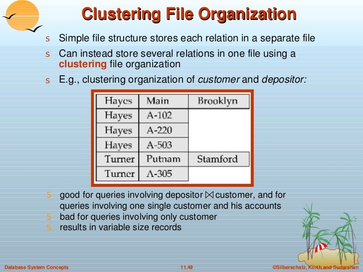 Clustering File Organization <ul><li>Simple file structure stores each relation in a separate file  </li></ul><ul><li>Can ...