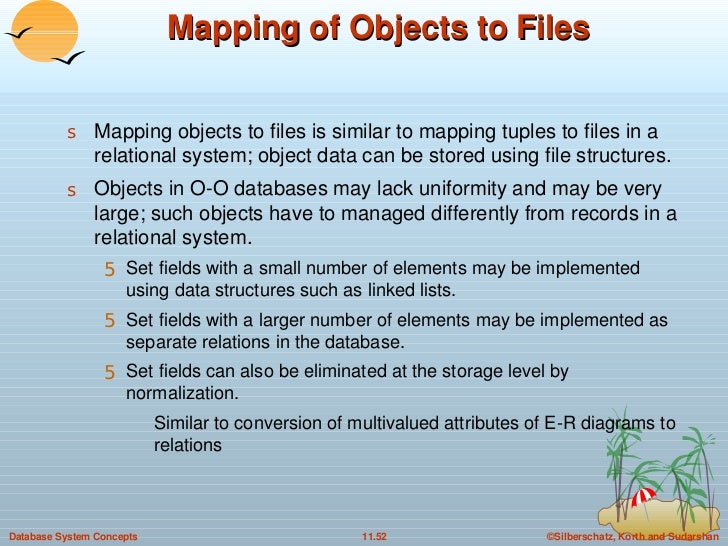 Mapping of Objects to Files <ul><li>Mapping objects to files is similar to mapping tuples to files in a relational system;...