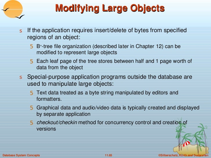 Modifying Large Objects <ul><li>If the application requires insert/delete of bytes from specified regions of an object: </...