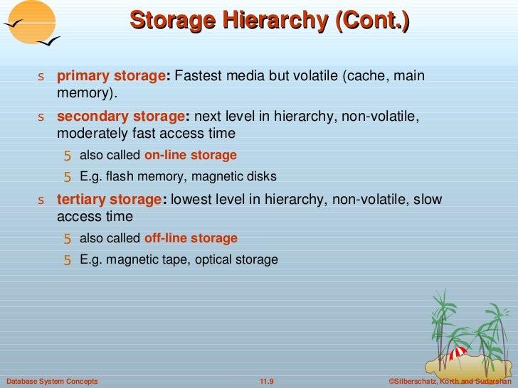 Storage Hierarchy (Cont.) <ul><li>primary storage :  Fastest media but volatile (cache, main memory). </li></ul><ul><li>se...