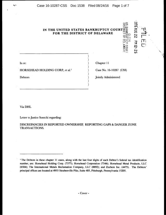 Case 16-10287-CSS Doc 1538 Filed 08/24/16 Page 1 of 7