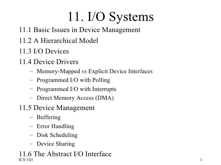 Ch11 input output systems