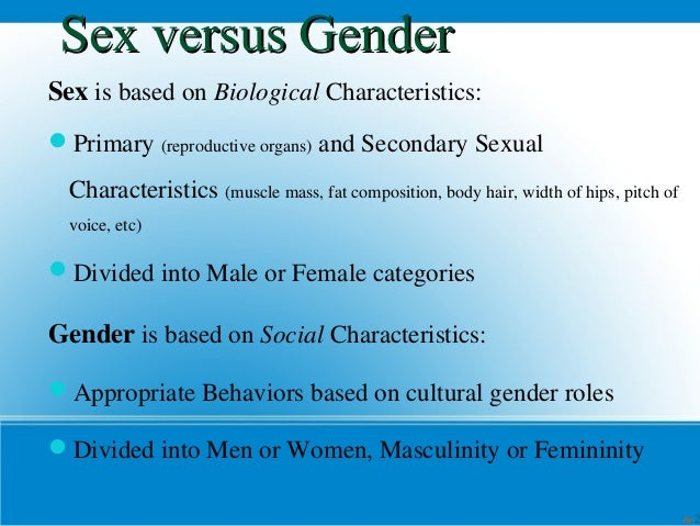 Sex  Gender Mini Lecture Sex Versus  Thesis Statement Examples For Essays also High School Admission Essay Sample  Essay About Healthy Food
