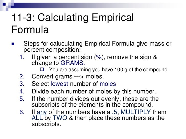 empirical formula pre lab Prelab: empirical formulas  an empirical formula is the simplest whole number ratio between the elements in a  in the second part of this lab, .