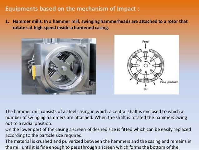 • Construction & working: • A hammer mill is essentially a steel drum containing a vertical or horizontal rotating shaft o...