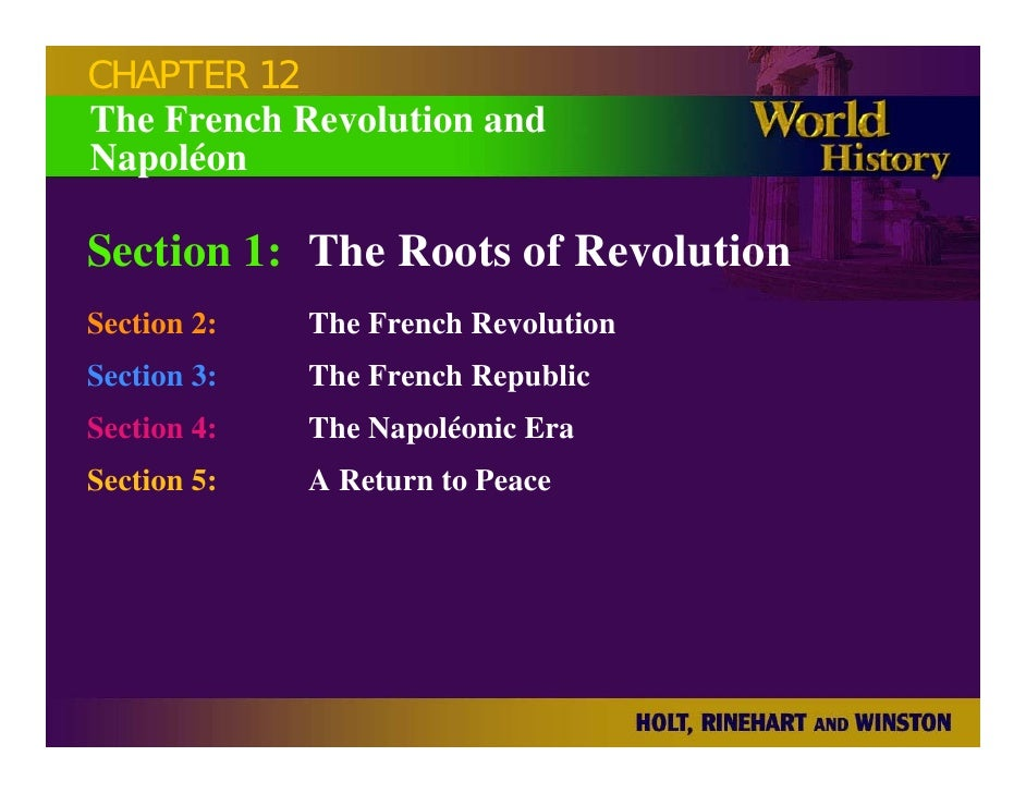 CHAPTER 12 The French Revolution and Napoléon  Section 1: The Roots of Revolution Section 2:   The French Revolution Secti...