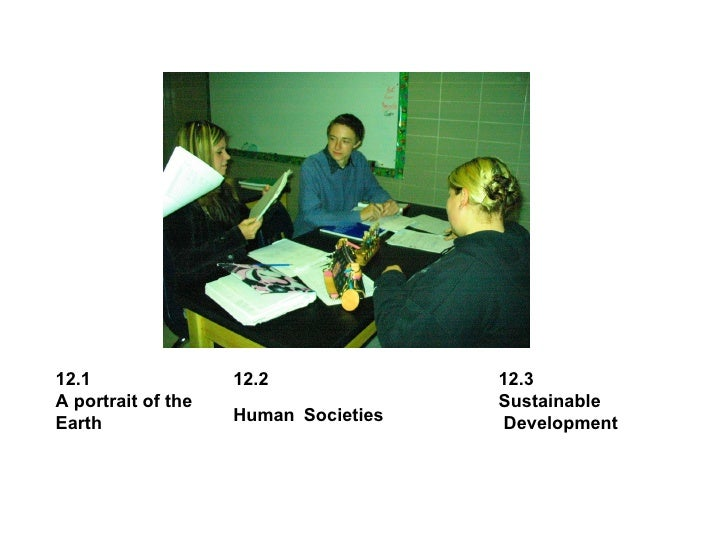 12.1 A portrait of the Earth  12.3 Sustainable Development 12.2  Human   Societies