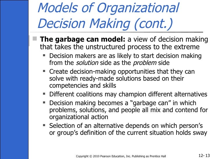 coalition model of decision making This module will give a more elaborate depiction of that model, and focus on its  core  organized by mutually inconsistent decision makers.