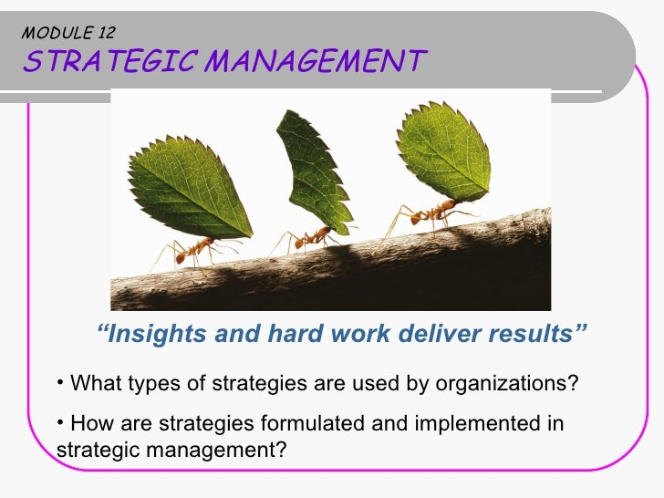 "MODULE 12 STRATEGIC MANAGEMENT <ul><li>"" Insights and hard work deliver results"" </li></ul><ul><li>What types of strategie..."
