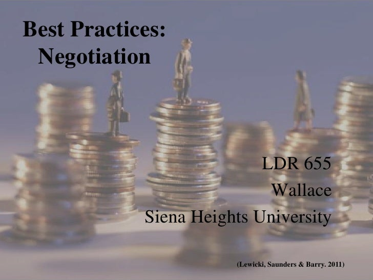 Best Practices: Negotiation                           LDR 655                            Wallace            Siena Heights ...