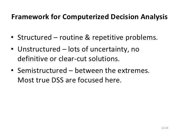 business systems analysis and decision support essay A decision support system (dss) is an information system at the management level of an organization that combines data, analytical tools, and models to support semistructured and unstructured decision-making a dss can handle low volume or massive databases optimized for data analysis dss has more .