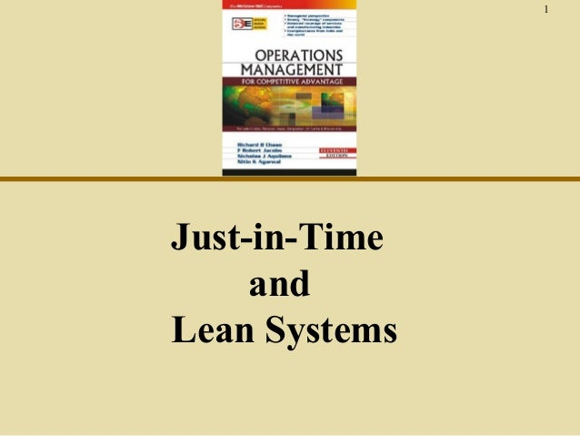 1  Just-in-Time and Lean Systems