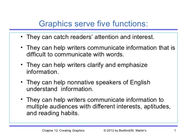 Graphics serve five functions:• They can catch readers' attention and interest.• They can help writers communicate informa...
