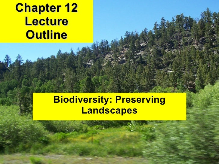 Chapter 12 Lecture Outline Biodiversity: Preserving Landscapes