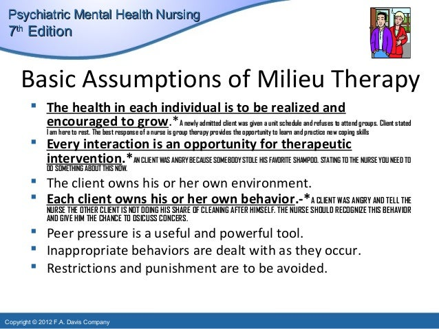 therapeutic milieu and mental health nursing nursing essay Psychiatric nursing or mental health nursing is the appointed position of a nurse that specialises in mental health, and cares for people of all ages experiencing.