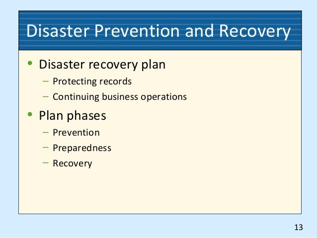 records disaster prevention and recovery A disaster recovery plan that is optimized for hard-copy records includes steps for identifying vital documents, document protection, document recovery and restoration and document salvage options.
