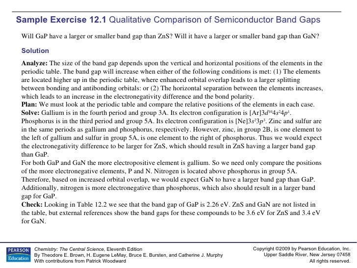 Sample Exercise 12.1  Qualitative Comparison of Semiconductor Band Gaps Will GaP have a larger or smaller band gap than Zn...
