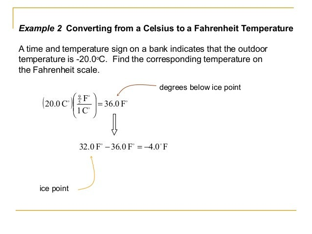 Example 2 Converting from a Celsius to a Fahrenheit Temperature A time and temperature sign on a bank indicates that the o...