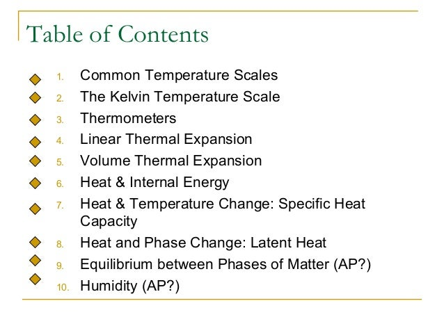 Table of Contents 1. Common Temperature Scales 2. The Kelvin Temperature Scale 3. Thermometers 4. Linear Thermal Expansion...