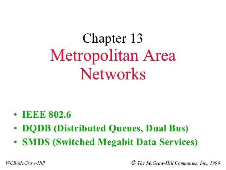 Chapter 13 Metropolitan Area Networks <ul><li>IEEE 802.6 </li></ul><ul><li>DQDB (Distributed Queues, Dual Bus) </li></ul><...