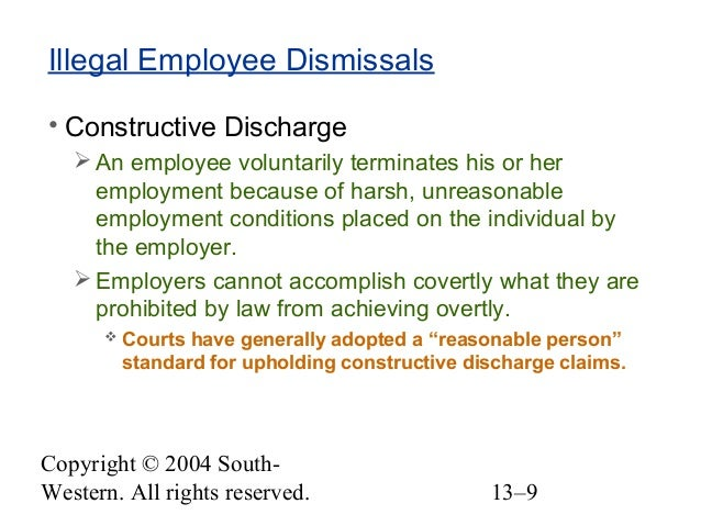 constructive discharge under title vii and 1013 civil rights—title vii—constructive discharge defined a constructive discharge occurs when the working conditions are so intolerable that a reasonable person in the plaintiff's.