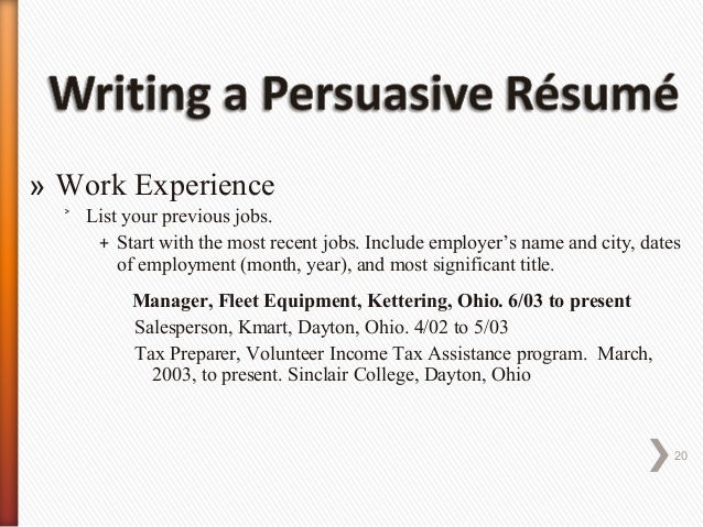 Persuasive Resume - Cover Letter - Job Letter Writing