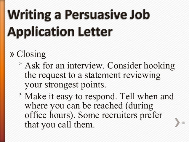 persuasive resume - cover letter