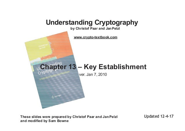 Understanding Cryptography by Christof Paar and JanPelzl www.crypto-textbook.com Chapter 13 – Key Establishment ver. Jan 7...